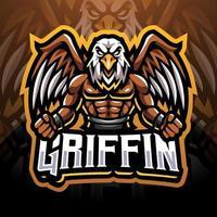 design do logotipo do mascote griffin esport vetor