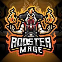 design do logotipo do mascote rooster mage esport vetor
