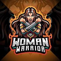 design de logotipo do mascote feminino guerreiro esport vetor