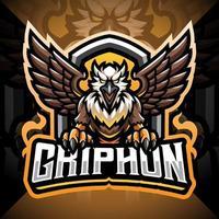 design do logotipo do mascote gryphon esport vetor