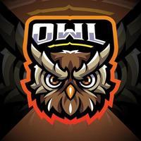 design do logotipo do mascote esport da cabeça de coruja vetor