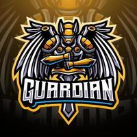 design do logotipo do mascote do guardian esports vetor