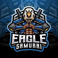 design do logotipo do mascote eagle samurai esport vetor