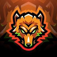 design do logotipo do mascote do esporte da cabeça das raposas vetor