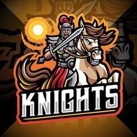 cavaleiros com logotipo do mascote do Horse jump vetor