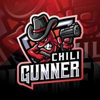 logotipo do mascote chili gunner esport vetor