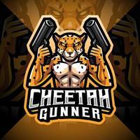 logotipo do mascote cheetah gunner esport vetor