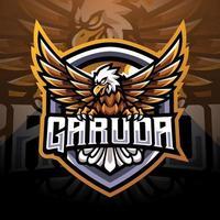 design do logotipo do mascote garuda esport vetor