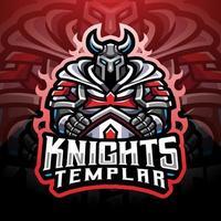 design do logotipo do mascote knights templar esport vetor