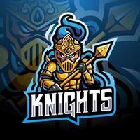 design do logotipo do mascote knight esport vetor