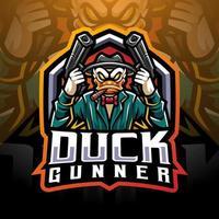 design do logotipo do mascote duck gunner esport vetor