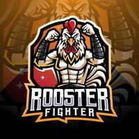 design do logotipo do mascote do galo lutador esport vetor