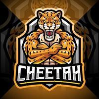 design do logotipo do mascote cheetah esport vetor