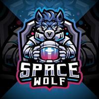 Design do logotipo do mascote space wolf esport vetor