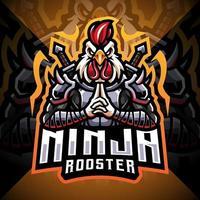 Design do logotipo do mascote ninja galo esport vetor