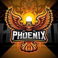 design do logotipo do mascote phoenix esport vetor