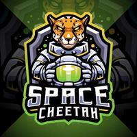 design do logotipo do mascote space cheetah esport vetor