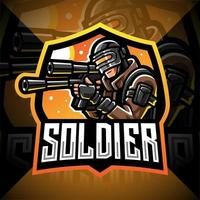 logotipo do soldado mascote esport vetor