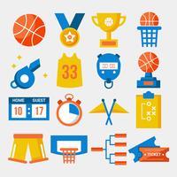 Vetor de coleção de elemento de basquete