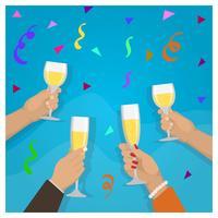 Celebração de brinde de champanhe plana com ilustração vetorial de amigos