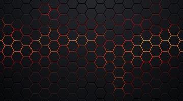 padrão de hexágono preto escuro sobre fundo abstrato de néon vermelho, laranja no estilo de tecnologia. design de bandeira da web de forma geométrica futurista moderna. você pode usar como modelo de capa, pôster. ilustração vetorial vetor