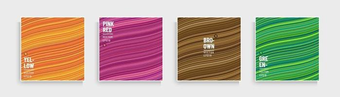 conjunto de padrão de listras de curva de cor na moda. Resumo listras fluindo linhas fundo amarelo, laranja, rosa, marrom e verde. design de banner moderno e minimalista. projeto de coleção de mármore. vetor