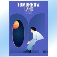 Homem, sentando, ligado, nave espacial, sala, olhar, a, lua, cartaz, ilustração vetor