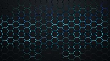 padrão abstrato hexágono escuro no estilo de tecnologia de fundo de luz de néon verde e azul. design de bandeira da web de forma geométrica futurista moderna. você pode usar para modelo de capa, cartaz, folheto, anúncio impresso. vetor