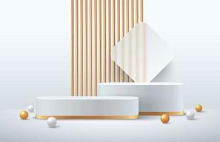 luxo branco e ouro redondo pódio no fundo cinza sala vazia e decoração de esfera branca e dourada. vetor abstrato renderização de forma 3d para exibição de produtos de publicidade. sala de estúdio de cena mínima.