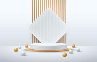luxuoso pódio em cilindro branco e dourado com faixa dourada e fundo quadrado de vidro transparente. vetor abstrato renderização de forma 3d para exibição de produtos de publicidade. sala de estúdio de cena minimalista moderna.