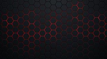 padrão abstrato hexágono escuro no estilo de tecnologia de fundo de néon vermelho. design de bandeira da web de forma geométrica futurista moderna. você pode usar para modelo de capa, cartaz, folheto, anúncio impresso. ilustração vetorial vetor