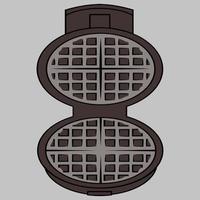 wafer iron. bolacha-ícone de ferro. ferro de waffle aberto em um fundo cinza com traçado de recorte vetor