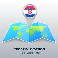 ícone de localização da Croácia no mapa mundial, ícone de alfinete redondo da Croácia vetor