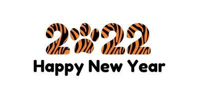 feliz ano novo 2022. banner ou cartão postal com o ano do tigre com ilustração vetorial de pata e letras com padrão predatório vetor