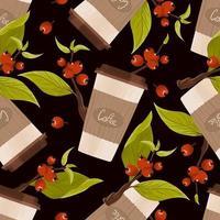 padrão sem emenda de caneca de café de papel e ramos de bagas de café vermelhas com folha verde em um fundo escuro. ilustração vetorial desenhada à mão vetor