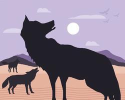 silhueta dos lobos paisagem vetor