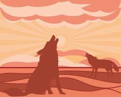 silhueta de lobos uivando para a lua vetor