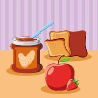 pão de manteiga de amendoim no café da manhã vetor