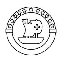 selo carimbo com ícone de estilo de linha caravela navio columbus dia vetor