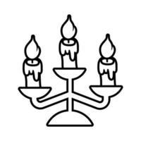 lustre com ícone de estilo de linha de velas vetor