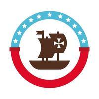 selo carimbo com ícone de estilo plano caravela navio columbus dia vetor