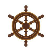 ícone de estilo simples de leme de barco de madeira vetor