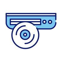 linha de CD player e ícone de estilo de preenchimento vetor