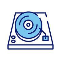 linha de reprodutor de console de música e ícone de estilo de preenchimento vetor