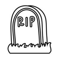 túmulo do cemitério com ícone de estilo de linha de palavra rip vetor
