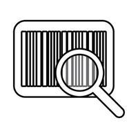 código de barras com ícone de estilo de linha de lupa vetor