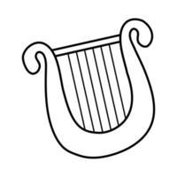 estilo de linha de instrumento de corda de lira vetor