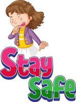 fique seguro fonte com uma garota espirrando isolada vetor