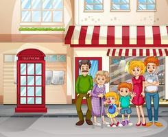 cena da cidade com uma família feliz em frente a uma loja vetor
