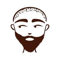 etnia jovem afro com barba e ícone de estilo de silhueta careca vetor